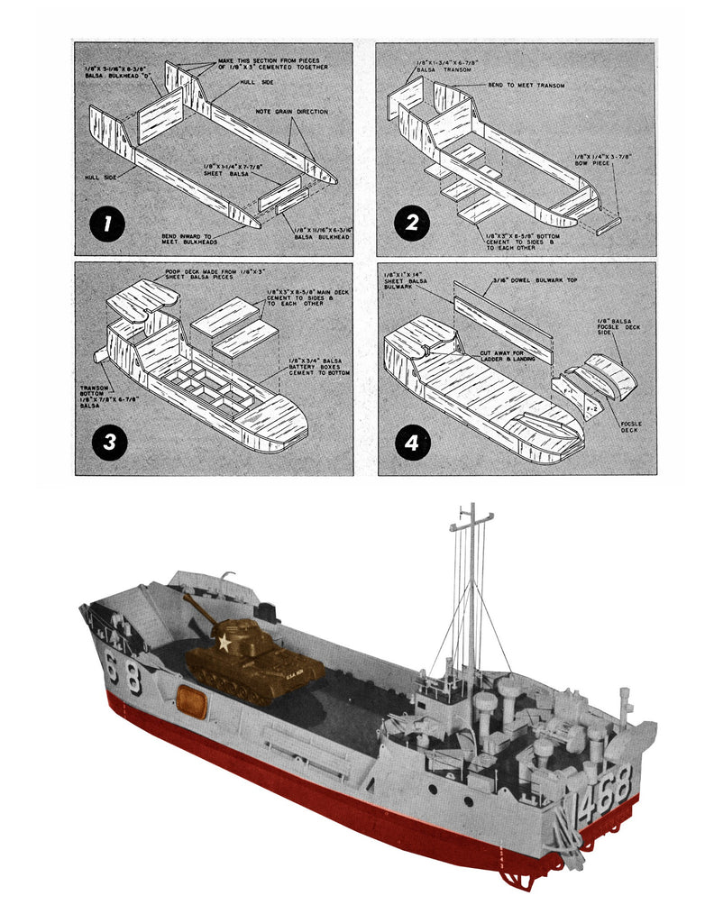 "WWII Model Boat Plans 1:48 Scale 30"" R/C Landing Craft Plans & Buildin – Vintage Model Plans"