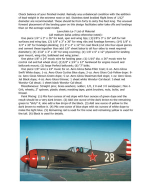 "Full Size Printed Plans Soviet fighter Scale 1""= 1 Control Line  Wingspan 32"" LAVOCHKIN La-7"