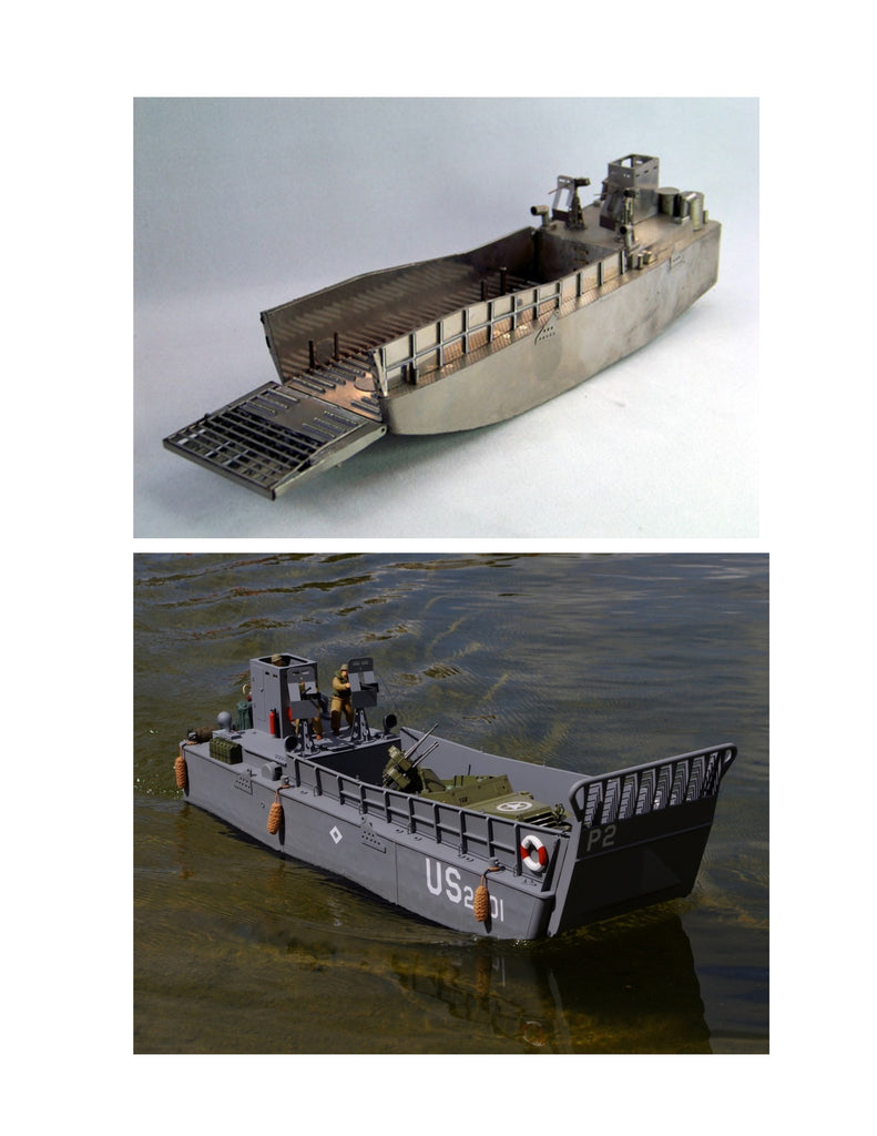 "Full size printed plan Landing Craft Mechanized Scale 1:16 L37 ½"" B 10 – Vintage Model Plans"