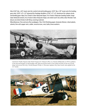 "Full Size printed plans Control Line  Scale 1"" = 1' NIEUPORT 24bis Wingspan 27""  Engines .14 - .29"