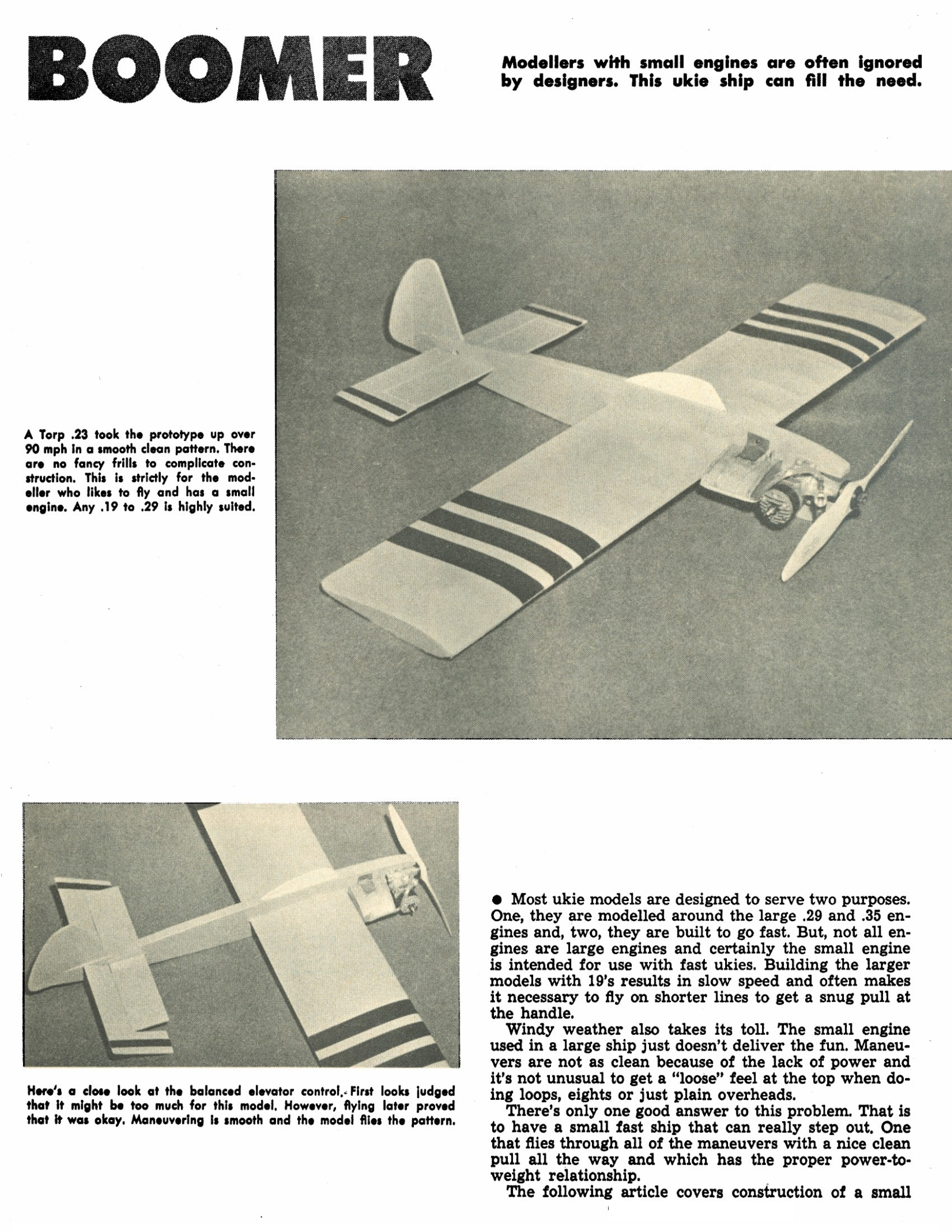Full Size Printed Plan to build a Control Line Stunt airplane Boomer