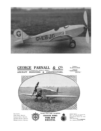 "Full size printed plans Peanut Scale ""PARNALL PIXIE"" Build this two-seat low winger"