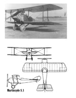 "Full size printed plans Peanut Scale ""Martinsyde Scout S.1"" lot of fun in the air. For a biplane"