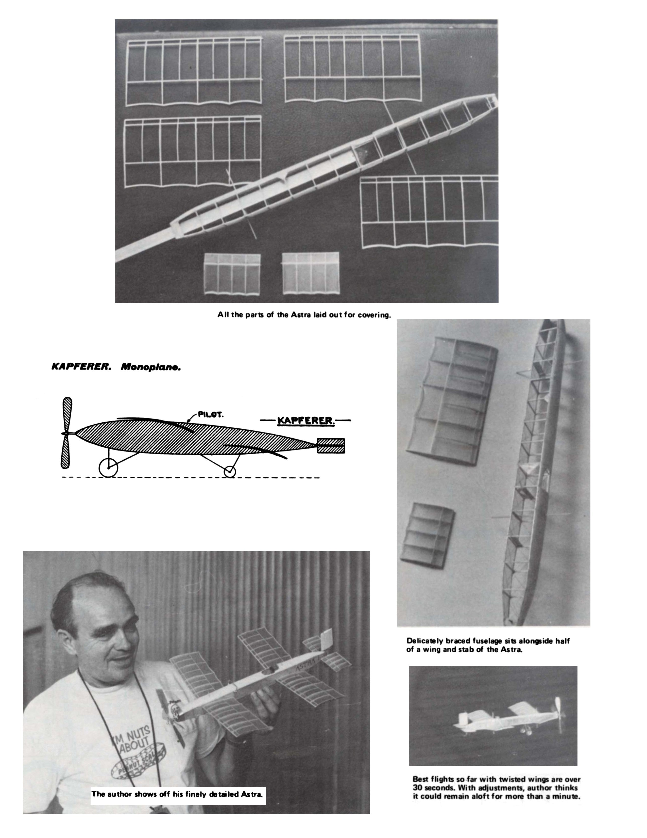 Full Size Printed Peanut Scale Plans ASTRA Kaplerer A rare, and certainly seldom-modeled monoplane