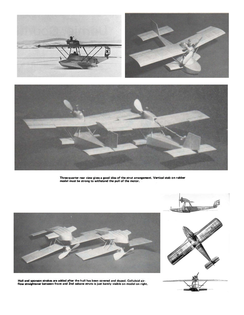 """Full Size Printed Peanut Scale Plans Dornier """"LIBELLE"""" for rubber or C02'  Naturally, both are excellent fliers"""