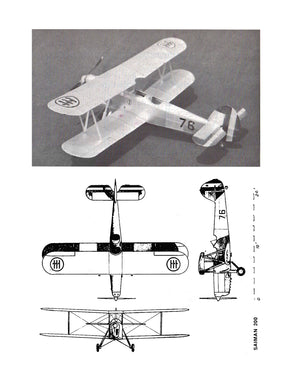 Full size printed plans Peanut Scale SAIMAN 200 one of the prettiest biplane trainers of the World War II era.