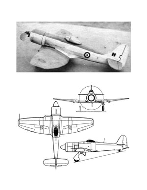 "Full size printed plans Peanut Scale ""SEA FURY""  Build with the ""gear up"" for improved performance"