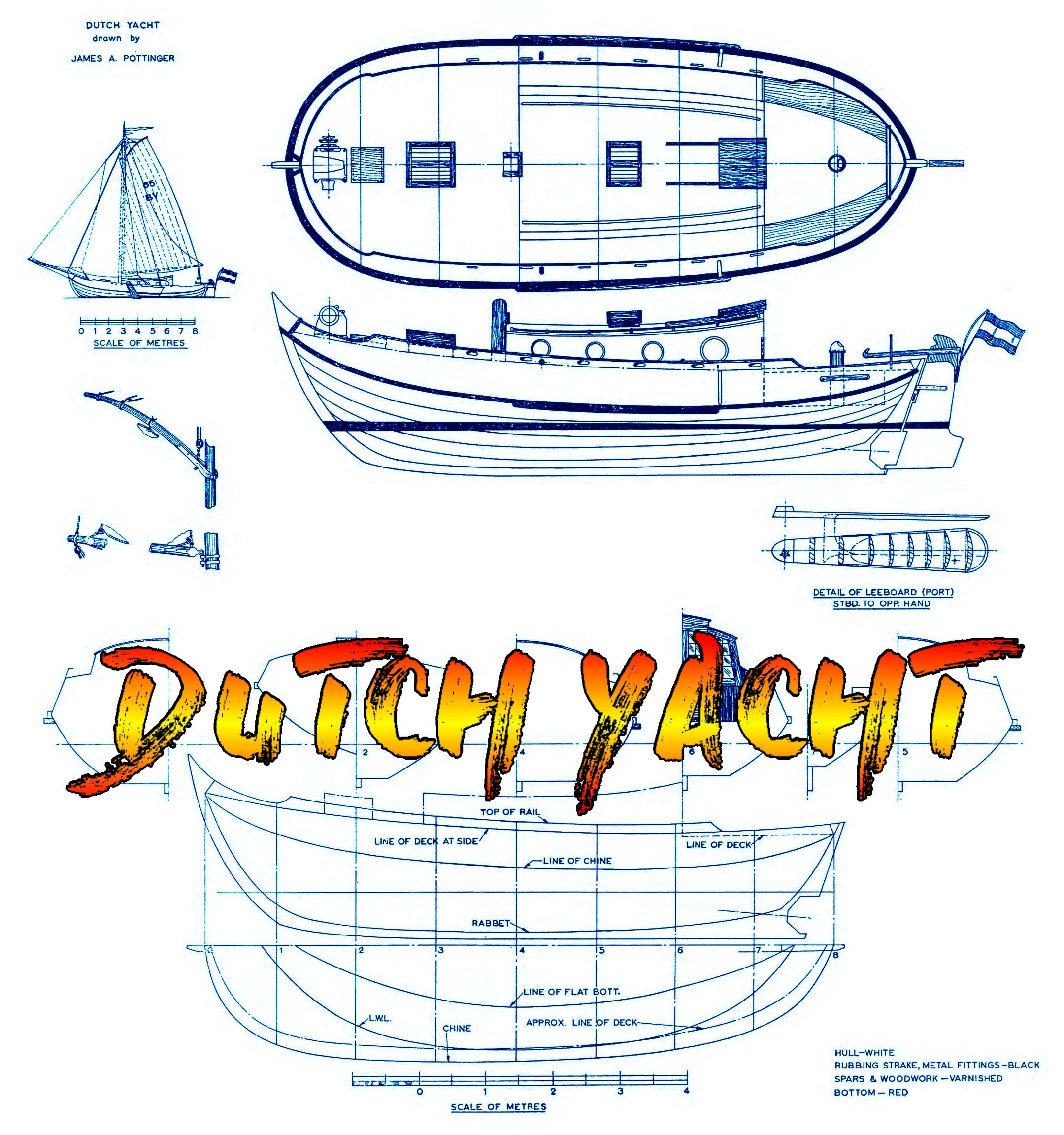 Full Size Printed Plan  Semi-Scale 1:21 DUTCH YACHT Pwr Electric and Sail  Suitable for Radio Control