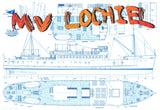"Build a Scale 1:48  Length 40"" MV Lochiel was the Islay mailboat Full Size printed plan"