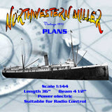Full Size Printed Plan 'Period' cargo vessel Scale  1/144 Northwestern Miller