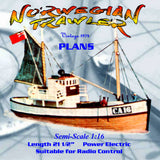 Full Size Printed Plan Semi-Scale 1:16 NORWEGIAN TRAWLER For two channel radio control