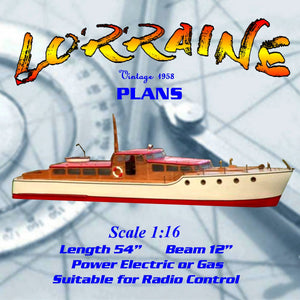 "Full Size Printed Plan Elegant motor yacht Scale 1:16 L54"" ""lorraine"" suitable for Radio Control"