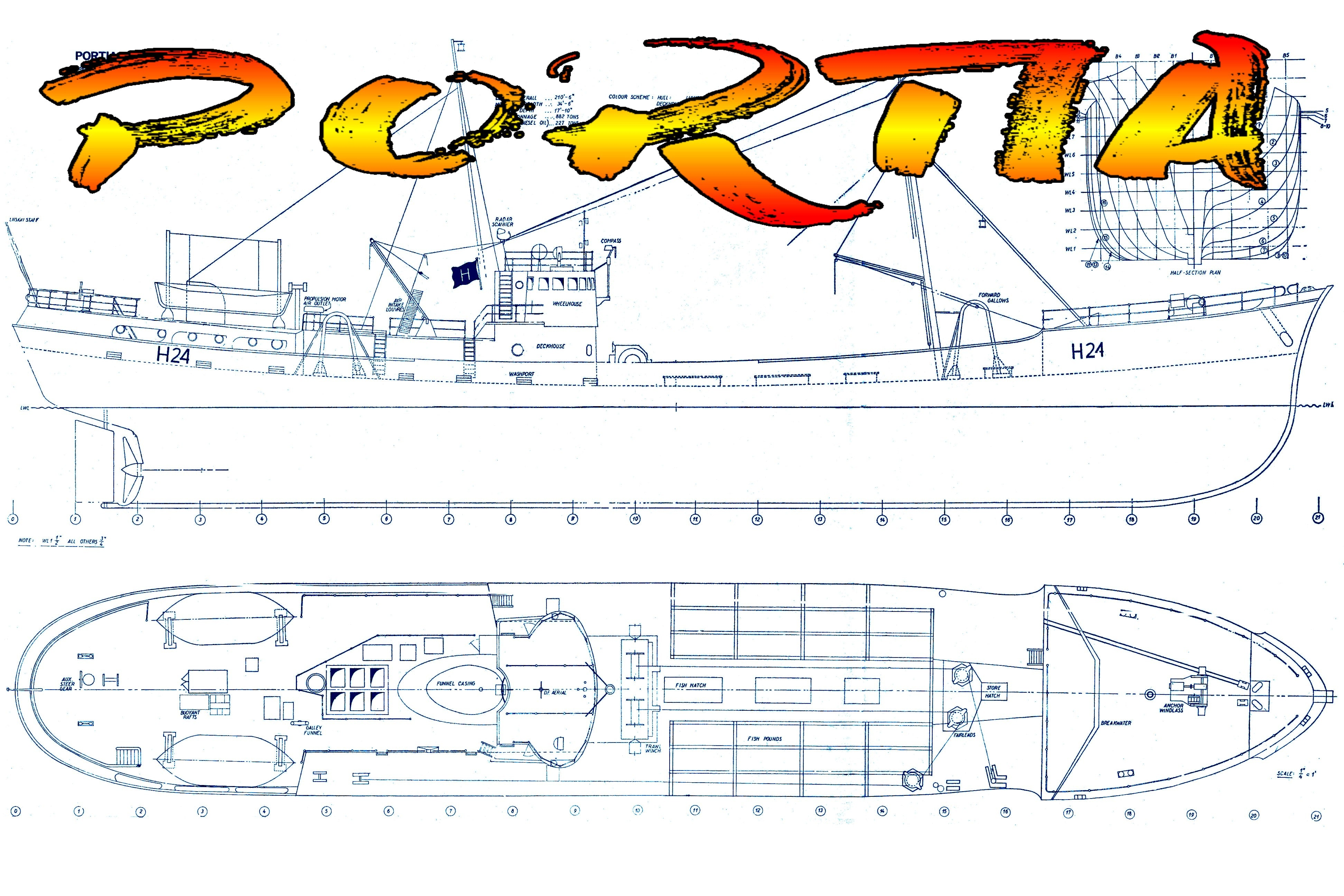 Full Size Printed Plan Scale 1:48 Britain's largest and fastest trawle 'PORTIA' Suitable for Radio Control