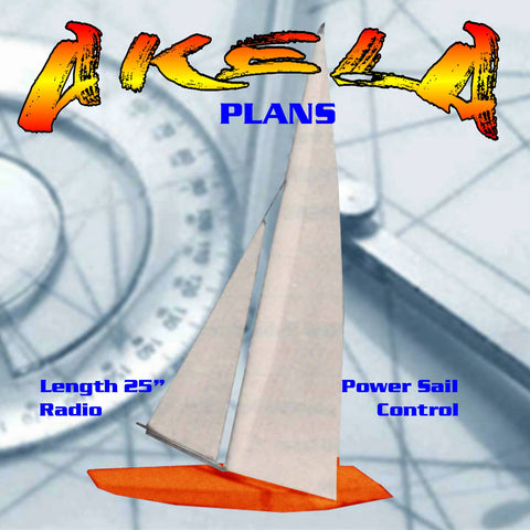 "MODEL BOAT PLANS 25"" RADIO CONTROL Sailboat Full Size Printed PLAN & BUILD NOTES"