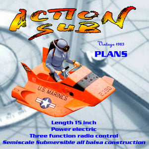 Full Size Printed Plan Semiscale Submersible all balsa construction Three function radio control