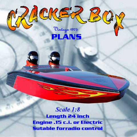 Model Boat Full Size Printed Plan & Article Scale 1/8 Crackerbox for Radio Control