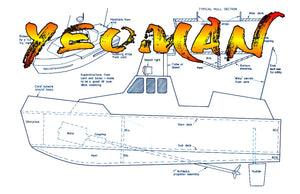 Full Size Printed Plan Projects for beginners 15in. launch Radio Control or free running YEOMAN