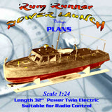 "Full Size Printed Plan Scale 32"" Rum Runner Launch suitable for Radio Control"