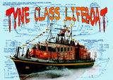 Build a Scale; 5/8 in. to 1 ft.  L 31 in.TYNE CLASS LIFEBOAT Full Size printed plans and building notes