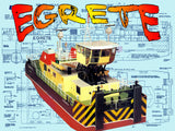 Full Size printed Plans Rhine  PUSHER TUG L 27 1/4 in  B 9 3/4 in  for RADIO CONTROL