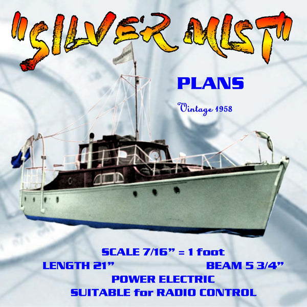 "Full Size Printed Plan  FOR BEGINNERS vintage Cabin Curiser SCALE 7/16"" = 1' ""SILVER MIST"" for radio control"