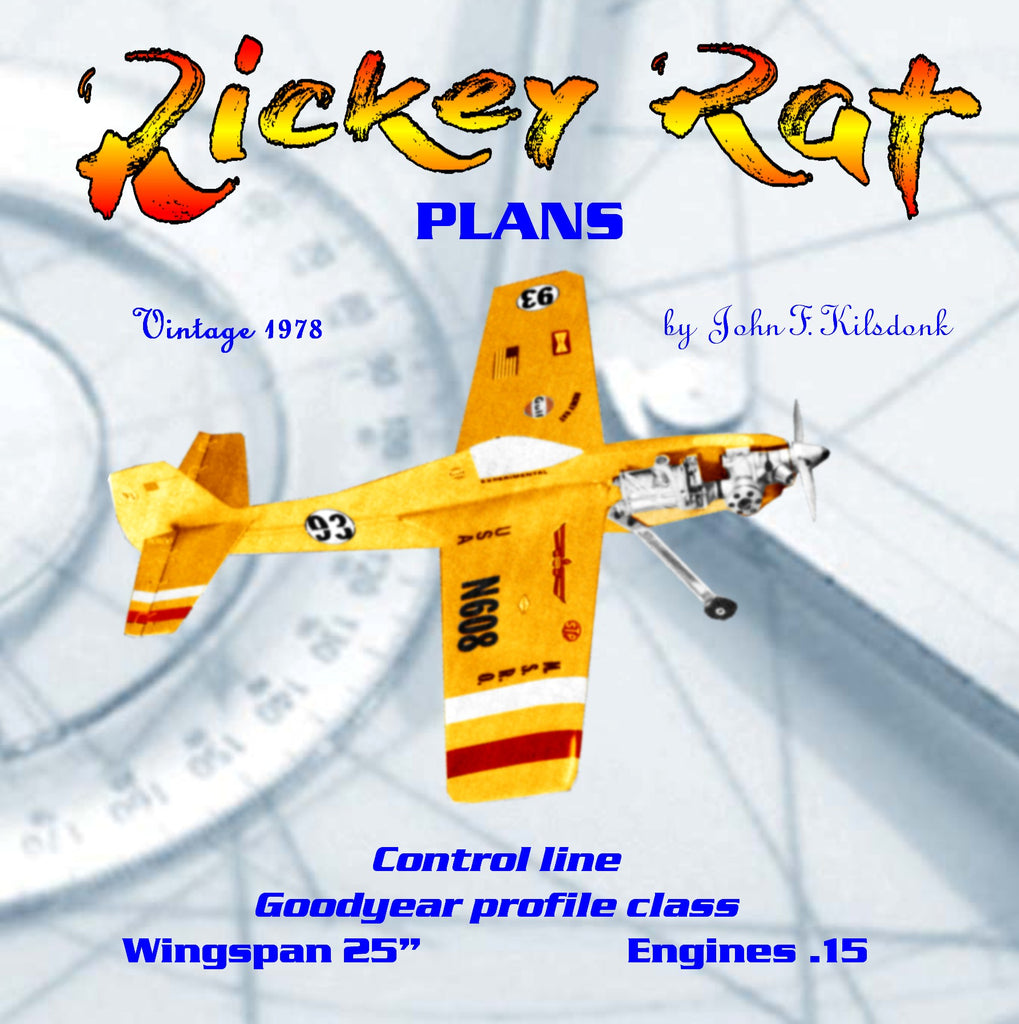 Full Size Printed Plan Profile Goodyear Racer Control line