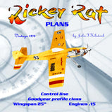 "Full Size Printed Plan Profile Goodyear Racer Control line ""Rickey Rat "" good beginner's or novice's model"