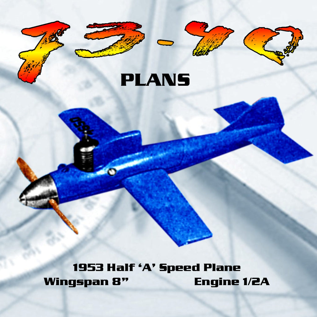"""Full size Printed Plans 1953 Control Line Speed 73 40 1/2 A speed buggy  Wingspan 8"""""""