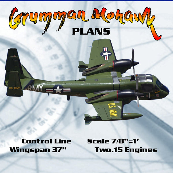 "FULL SIZE PLANS Control Line Scale 7/8""=1' Wingspan 37"" Two .15 Eng Grumman Mohawk"