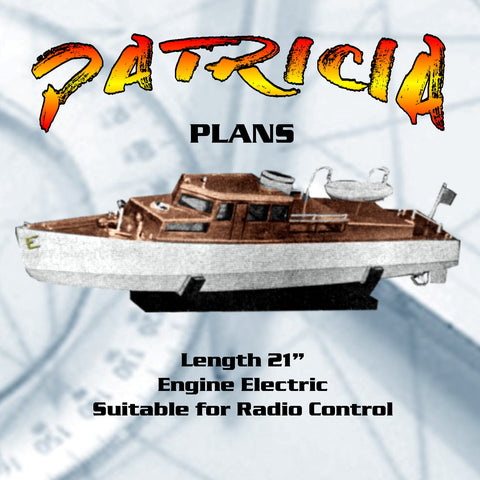 "Full Size Printed Plan MOTOR YACHT L 21""  Engine Electric  Suitable for R/C Great beginners Project"