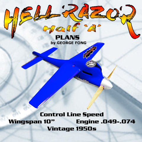 "Full Size Printed PLANS Half ""A"" Hell Razor Wingspan 10""  ENGINES :  CUB .039 - .049 - .074 WASP .049  SPITFIRE .045"