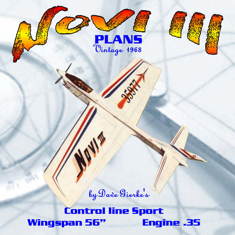 "Full Size Printed Plans Vintage 1968 CONTROLINE PRECISION ACROBATIC AIRCRAFT ""NOVI III"""