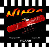 "Full Size Printed Plan & Building Notes Combat *NINJA* Wingspan 39"" Engine .35"