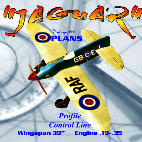 "Full Size Printed Plan CONTROL LINE  WINGSPAN 30""  ENGINE .29 to .40 ""JAGUAR"""