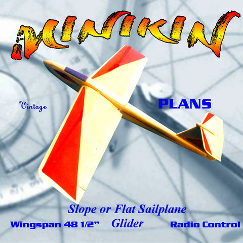 "Full size printed plan Glider 48 1/2"" 3-in-l machine  R/C flying, ""MINIKIN,"""