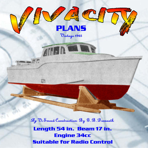 "Full Size Printed Plan vintage 1965 Length 54 in.  Beam 17 in. ""VIVACITY"" Suitable for Radio Control"