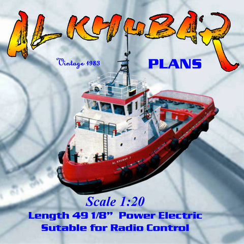 "Full Size printed plans United Arab Emirates. Harbour Tug 1:20 Giant Scale 49 "" for Radio Control"