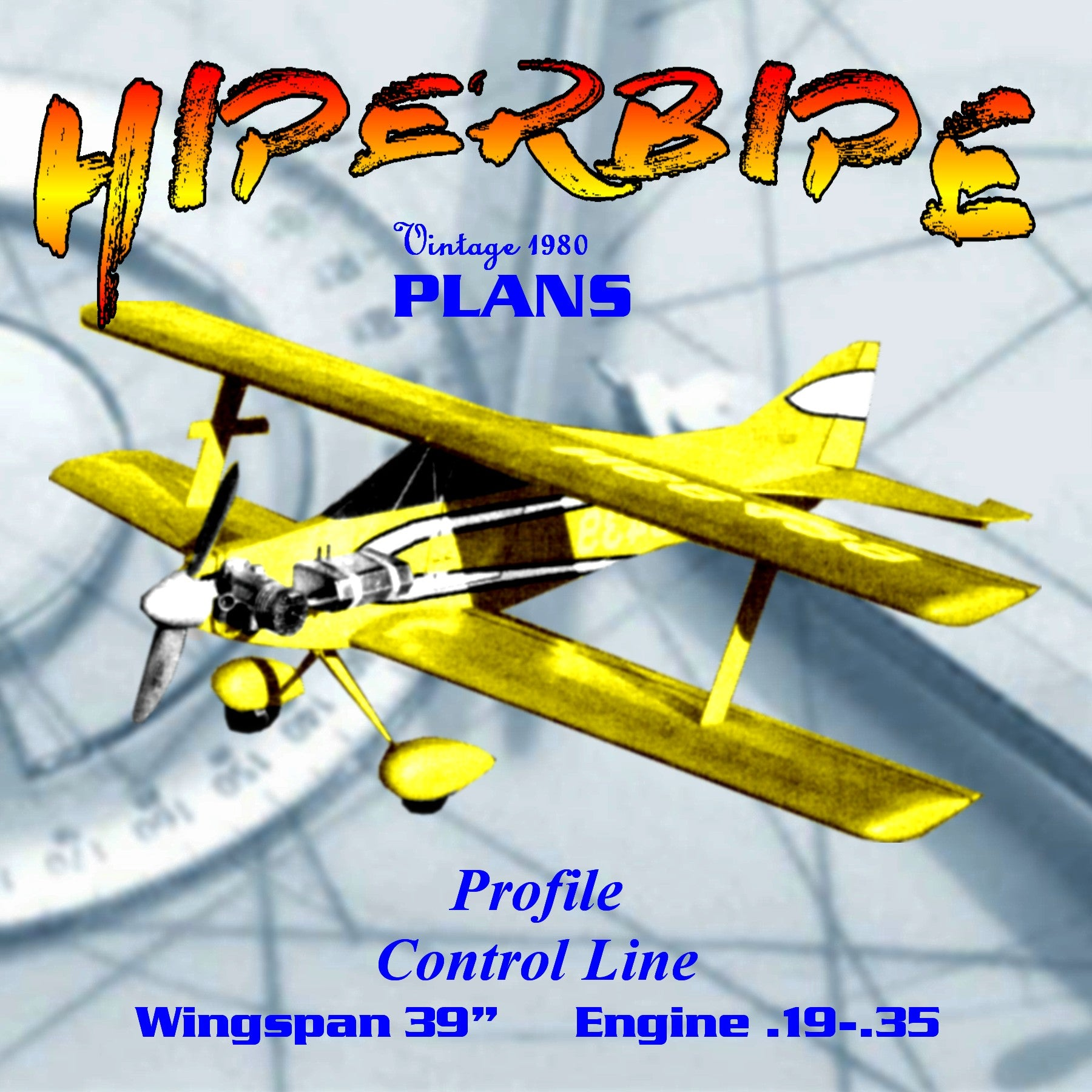 Full Size Printed Plan Control Line Profile  HIPERBIPE a good Sunday flyer w/s 36 enb .19 to .35