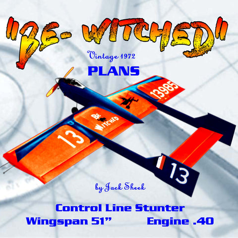 "Full Size Printed Plans Vintage 1972 Control Line Stunter ""BE- WITCHED"" turns a good flights"
