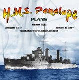 "Full Size Printed Drawings Scale 1/96 Arethusa-class light cruiser H.M.S. Penelope L 63"" Suitable for radio Control"