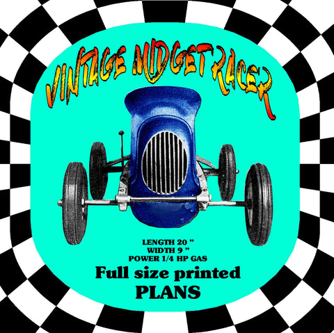 "Printed Plan and Article Teather VINTAGE MIDGET RACER LENGTH 20 ¾"" WIDTH 9 ¾"" POWER ¼ HP Gas Suitable for Radio Control"