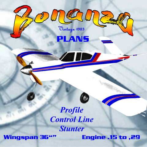 Full Size Printed Plan Control line Stunter Bonanza Profile Flying the aerobatics pattern is fun and challenging