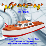 "Full Size Printed Plan 27"" GAS or ELECTRIC FAST LAUNCH BEGINNERS PLANS suitable fo Radio Control"