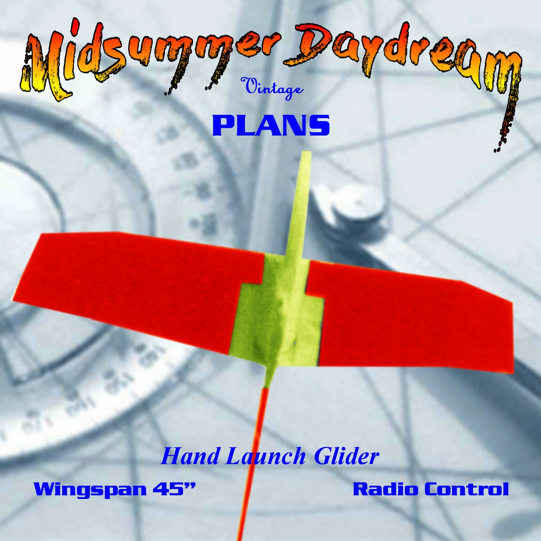 "Full Size Printed Plan HAND LAUNCH GLIDER 45"" W/S for Radio control  is easy to build;"