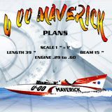 "Full size Printed Plans Gold Cup Racer SCALE 1 ¼"" = 1' U‑00 MAVERICK for Remote Control"