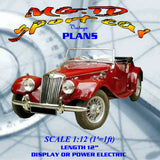 Full size printed plan SCALE 1:12 (1'=1ft) MG.TD sport car model Is simple to build