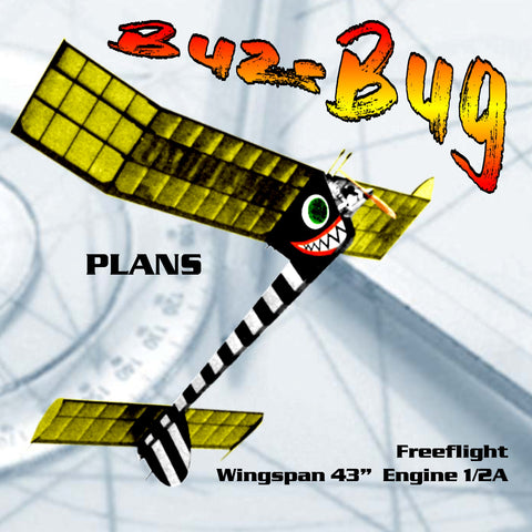 Full Size Printed Plan Vintage 1961 very simple to build Buz-Bug 1/2 A  For contests or just for kicks