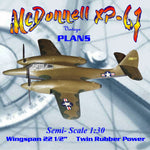 Full Size Printed Plans Semi-Scale 1:30 Twin Power Rubber McDonnell XP-67