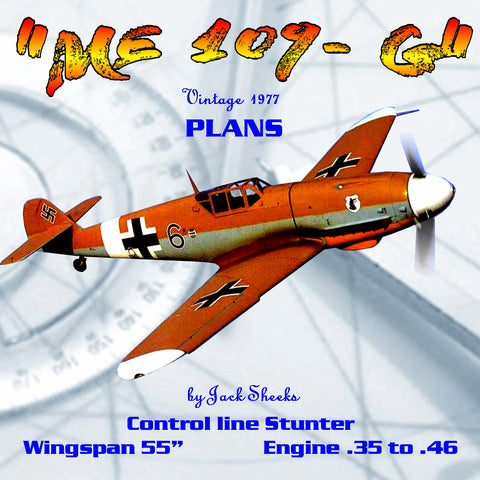 "Full Size Printed Plans VintageE 1977 Control Line Stunter ""Me 109-G"" captures the realism of a WW II"