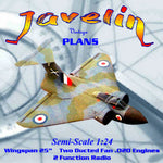 Full Size Printed Plan Semi- Scale 1:24 twin Cox .020 ducted fan fun! Gloster Javelin